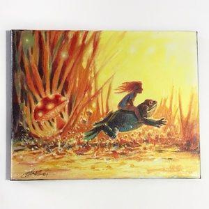Original painting mushroom frog fantasy rider USA